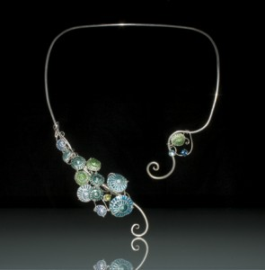 Blue & Green Enameled Torque Necklace