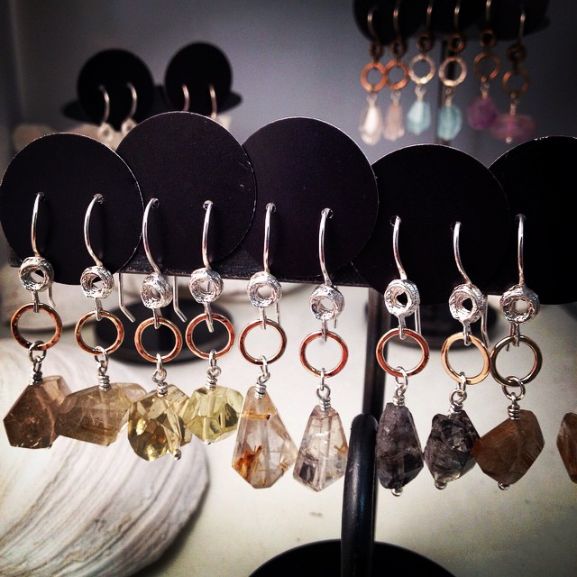 Chunky gem earrings by Jennifer Stenhouse