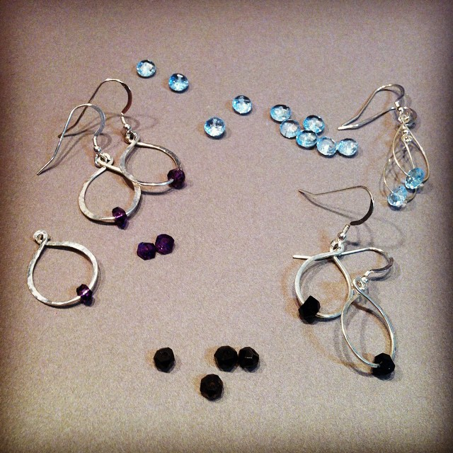 New gemstone earrings by Peggy Foy, in topaz, amethyst, and smokey quartz.