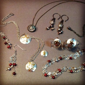 Some old favorites from Peggy's jewelry line. Gold Stars, Ammonites, and pearls.