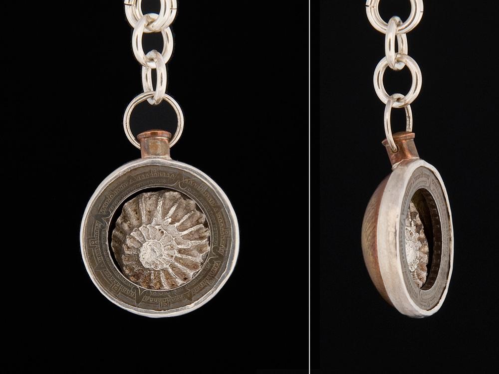 Mayan compass pendant in copper & brass