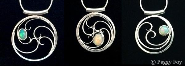 Opal pendants by Peggy Foy