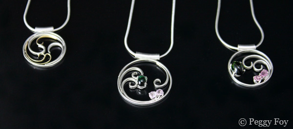 Spiral pendants by Peggy Foy